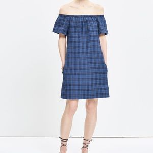 Madewell Off The Shoulder Plaid Dress Size 0